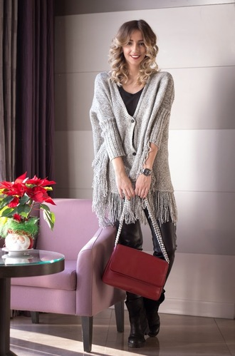 let's talk about fashion ! blogger bag knitted cardigan red bag