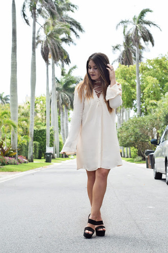 madison lane blogger sunglasses white dress lace up black heels