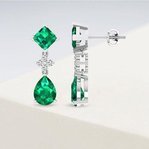 Dangle Earring with Pear Princess Emerald, Green Emerald Drop Earring, Diamond Teardrop Earring