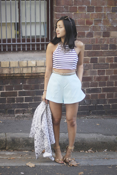 stripes blogger shoes jewels crop tops jacket jess loves fred summer outfits