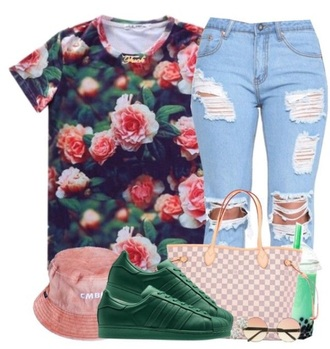 jeans rose shirt ripped jeans bucket hat louis vuitton adidas shoes hat bag shirt