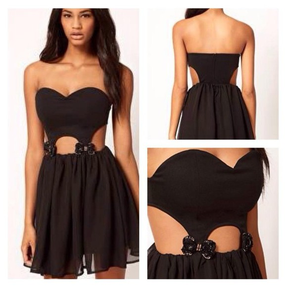 dress little black dress mini dress asosdress mini black dress asos black littleblackdress blackdress bows Bow Back Dress