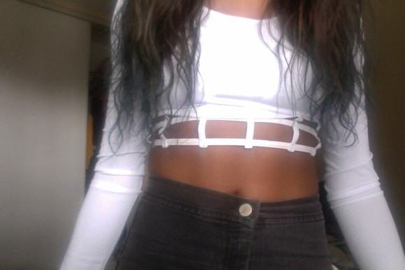 geometric crop tops long sleeves