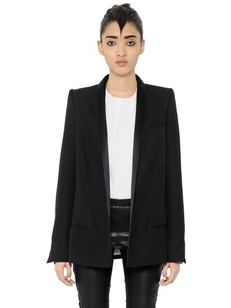 blazer long wool satin black jacket