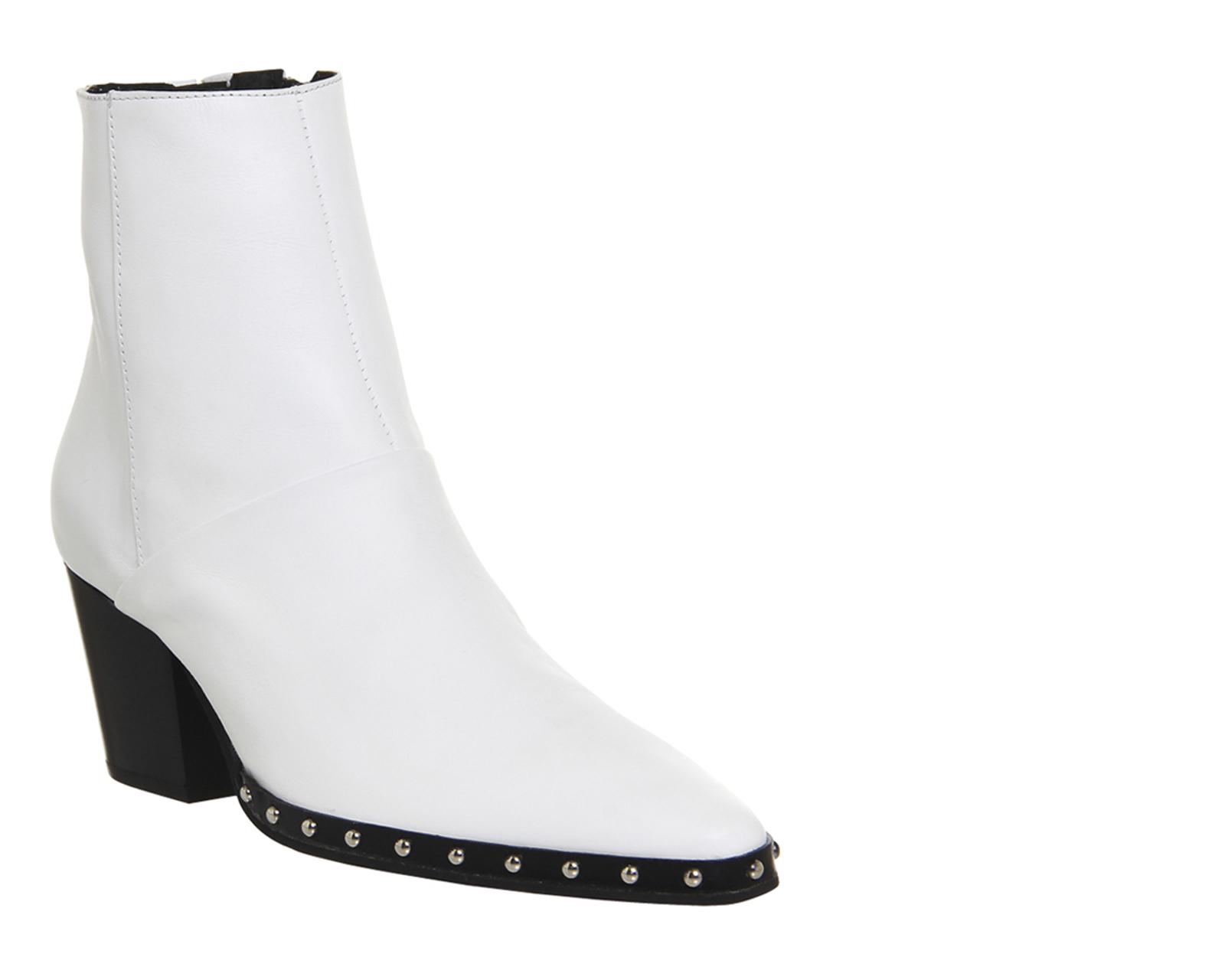 Office Levi Western Boots White Leather