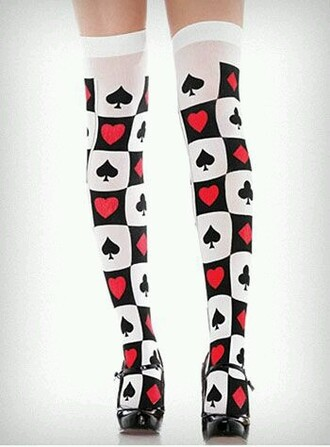 leggings alice in wonderland red black white socks