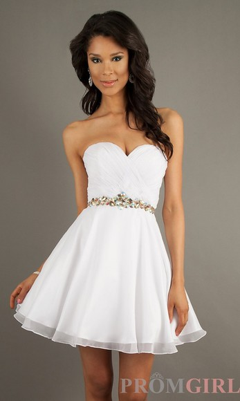 strapless white dress Belt dress prom dress