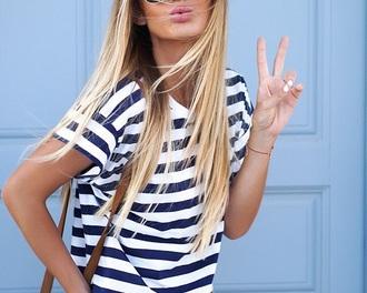 t-shirt stripes striped skirt boyfriend tshirt loose tshirt
