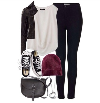 jeans leather jacket black top t-shirt skinny jeans blue converse black trainers beanie purple necklace black handbag fashion style stylish summer summer outfits jacket hat tank top shoes bag jewels blouse silver heart necklace