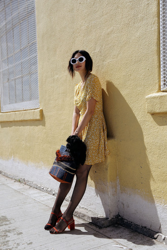 dress tumblr yellow yellow dress fishnet tights sandals sandal heels mid heel sandals bag sunglasses white sunglasses shoes
