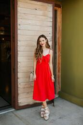dress,red dress,platform sandals,midi dress,bag