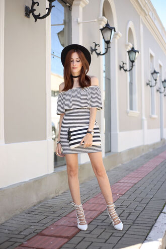 fashion coolture blogger bag off the shoulder black hat choker necklace white heels lace up heels dress mini dress stripes striped dress off the shoulder dress black choker hat short dress summer dress summer outfits clutch pouch striped bag high heels white high heels white shoes shoes