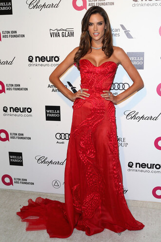 dress gown bustier dress alessandra ambrosio red dress strapless