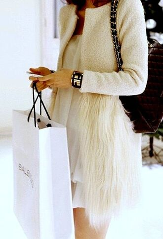 coat white white coat feathers winter coat fur