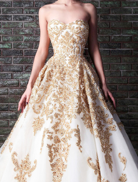 dress, rami kadi, wedding, gown, formal, white, gold, details, prom ...
