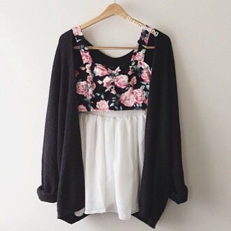 cardigan grey sweater grey cardigan skirt white skirt chiffon chiffon skirt floral floral top top crop tops bralette floral crop top outfit party evening dress summer dress summer outfits