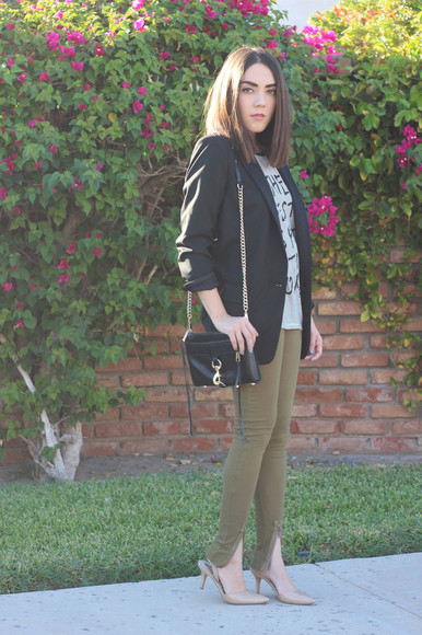 khaki blogger bag platforms for breakfast top skinny pants tailoring t-shirt quote on it