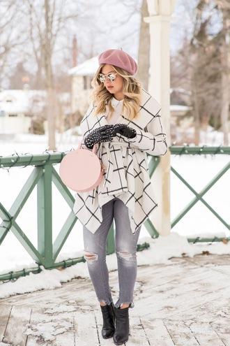 suburban faux-pas blogger coat blouse jeans shoes sunglasses gloves bag beret round bag winter outfits ankle boots