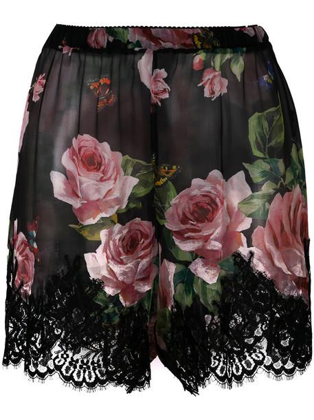 shorts rose women lace cotton print black silk