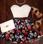 skirt,top,shoes,floral skirt,fashion,summer dress,summer outfits,floral skater skirt,black,jewels,blouse,bag,bustier,white bustier,white crop tops,short skirt,floral,bustier crop top,skater skirt,dress