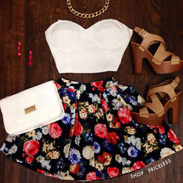 skirt top shoes floral skirt fashion summer dress summer outfits floral skater skirt black jewels blouse bag bustier white bustier white crop tops short skirt floral bustier crop top skater skirt floral skater skirt dress
