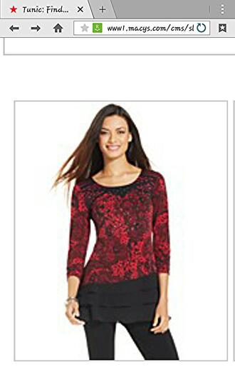 top red black black lace tunic