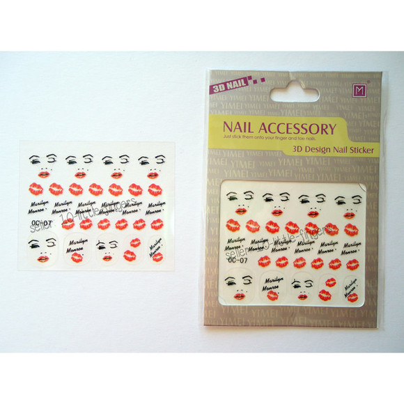hot nail accessories nail polish manicure pedicure stickers diy nail art kiss marilyn monroe