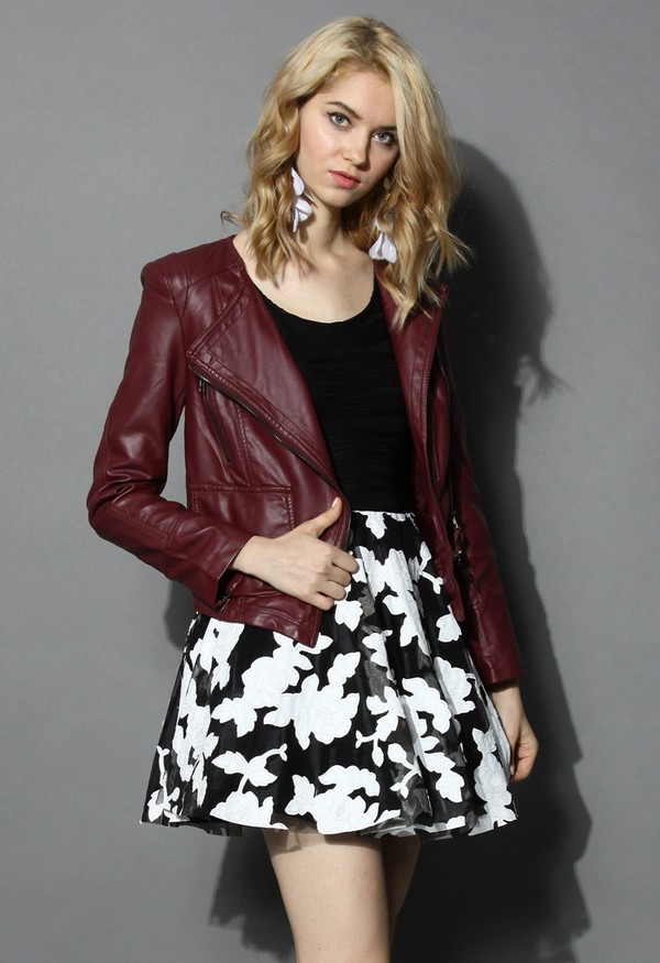 jacket chicwish faux leather biker jacket wime