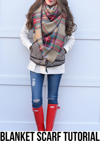 southern curls and pearls blogger sweater blanket scarf wellies ripped jeans jacket jeans shoes jewels make-up scarf plaid infinity scarf