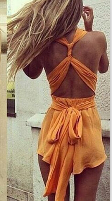 Hot short dress orange