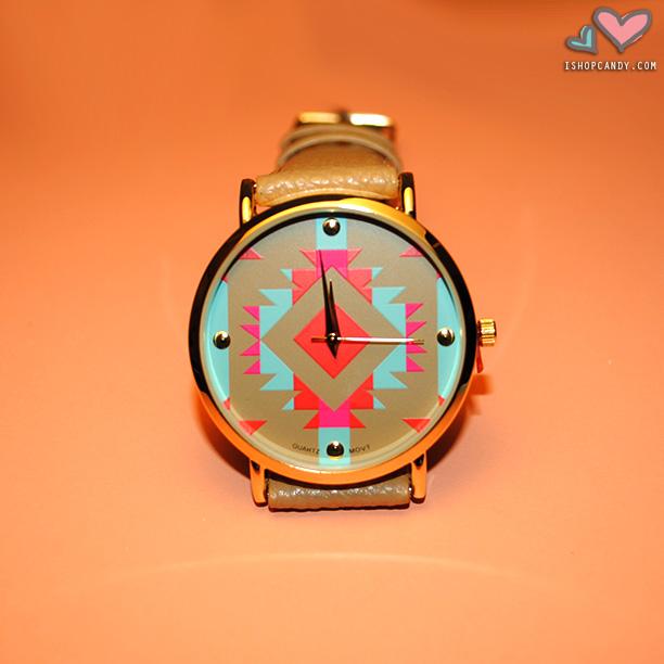 Tiegan Aztec Print Watch
