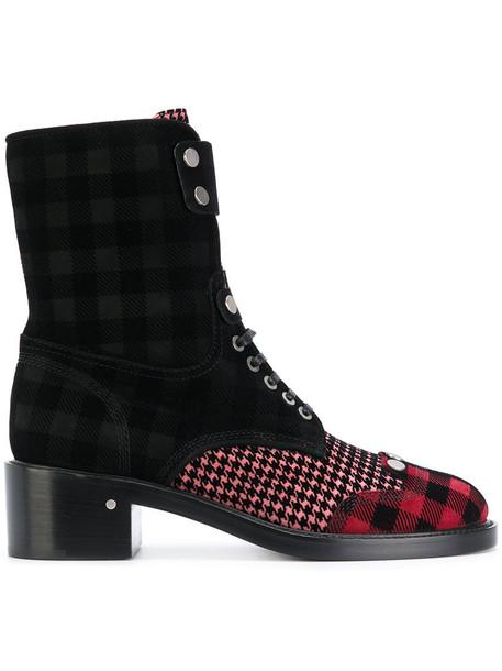 LAURENCE DACADE women lace leather black velvet tartan shoes