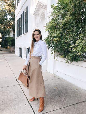 skirt white shirt brown boots tumblr midi skirt nude skirt shirt boots bag
