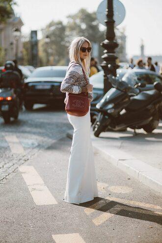 the fashion guitar blogger sweater skirt bag sunglasses chanel bag maxi skirt white skirt chanel tumblr brown bag stripes striped sweater streetstyle designer bag