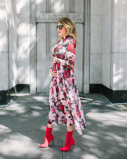 lifelutzurious blogger dress socks shoes sunglasses bag midi dress floral dress red boots boots maternity maternity dress