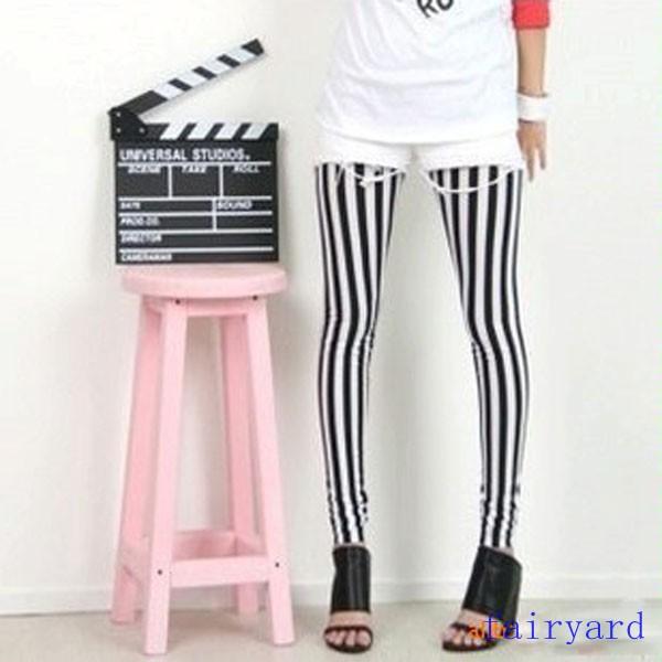 Womens Black & White Vertical Stripe Zebra Leggings Skinny Tights Legwear Pants | eBay