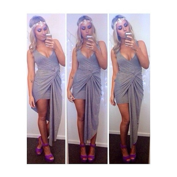 dress grey dress grey sexy dress clothing jersey dress