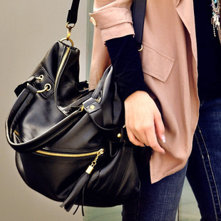 New women's handbags rivet shoulder bags black and brown leather cheap crossbody bags-inBag Parts & Accessories from Luggage & Bags on Aliexpress.com