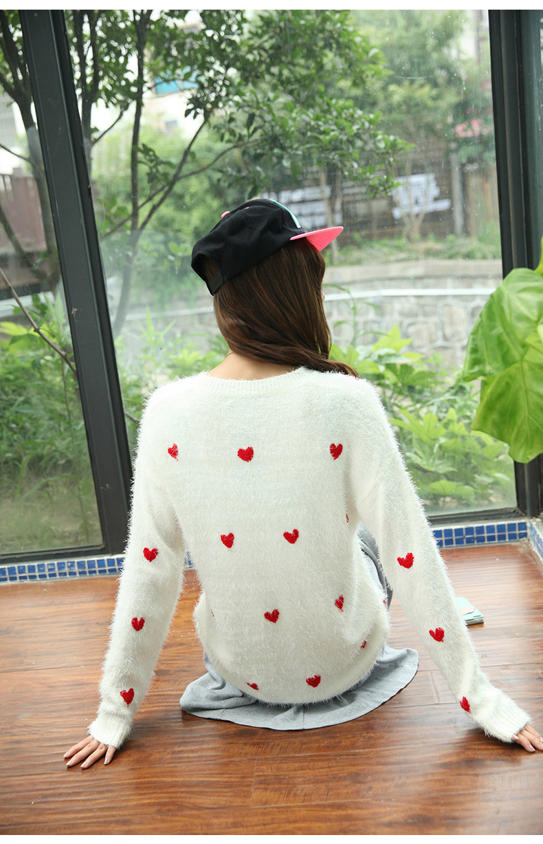 On Sale 2013 New Arrivals Lovely Womens Crew Neck Pullover Long Sleeve Crochet Red Heart Sweater Jumper Knitwear Tops Pink White on Aliexpress.com