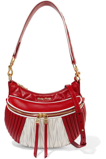 quilted bag shoulder bag leather red