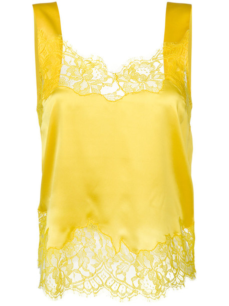 Givenchy top women lace cotton silk yellow orange