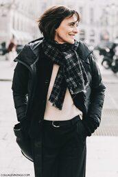 jacket,tumblr,streetstyle,fashion week 2017,black jacket,bomber jacket,black bomber jacket,down jacket,sweater,white sweater,scarf,pants,black pants,tartan scarf,bag,black bag