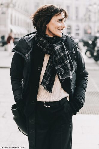 jacket tumblr streetstyle fashion week 2017 black jacket bomber jacket black bomber jacket down jacket sweater white sweater scarf pants black pants tartan scarf bag black bag