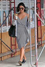 dress,wrap dress,summer dress,vanessa hudgens,midi dress,streetstyle