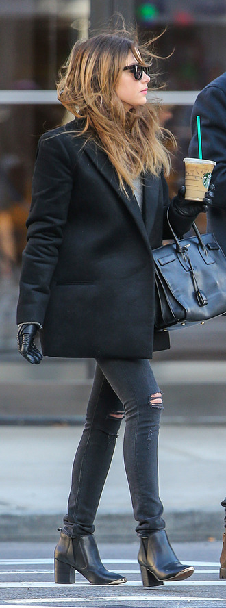jacket blazer coat black coat streetstyle ashley benson jeans shoes sunglasses