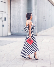 bag,bvlgari,red bag,maxi dress,long dress,stripes,striped dress,asymmetrical dress,asymmetrical,sandals,sandal heels,high heel sandals,black sandals,bvlgari serpenti,bvlgari serpenti bag,bulgari serpenti bag