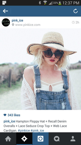 hat floppy hat overalls denim overalls lace cardigan lace tops lace bra top lace crop top oversized sunglasses