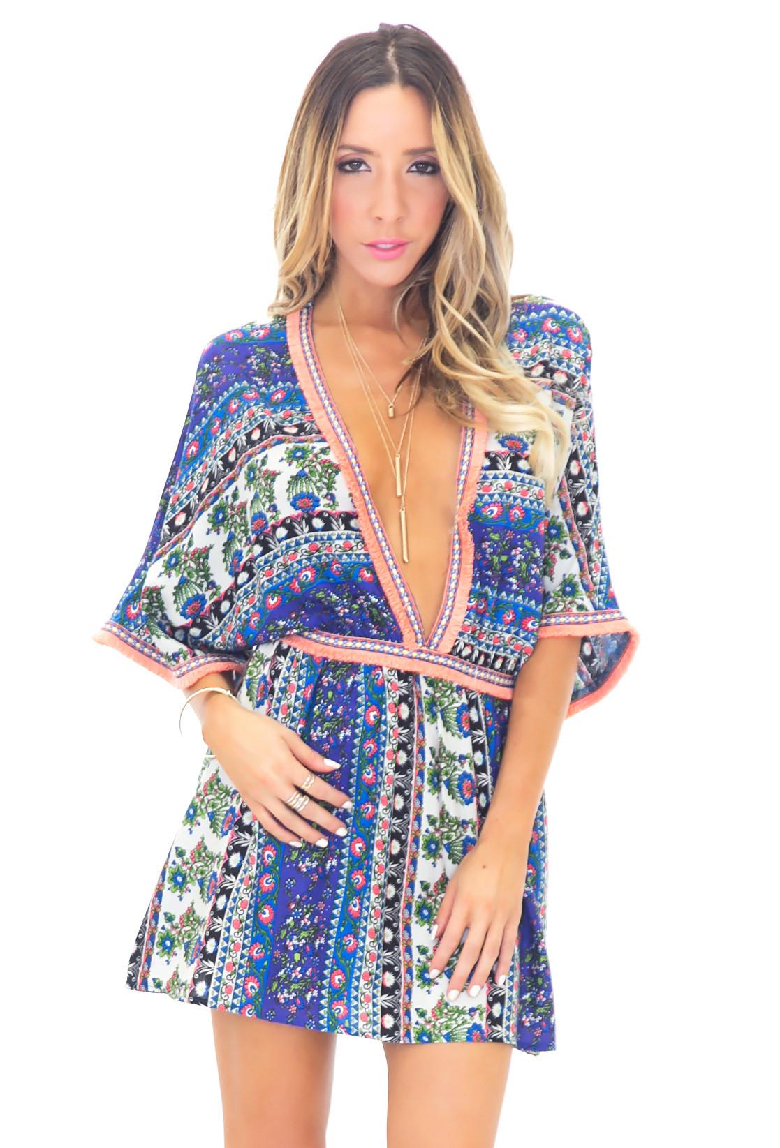 Agatha print poncho dress
