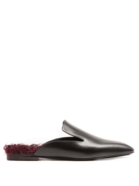 Jil Sander fur backless loafers leather black burgundy shoes
