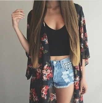 shorts summer floral cute pretty kimono summer shorts crop tops black crop top denim shorts floral kimono boho kimono studded shorts boho chic summer top shirt cardigan blouse